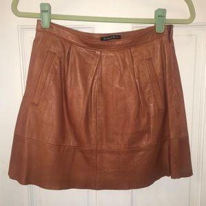 Madewell 100% LEATHER A-line pleated mini skirt